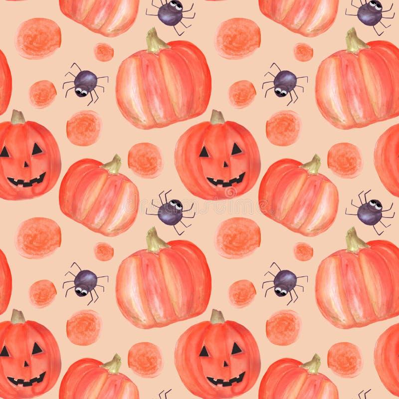 Het naadloze patroon van waterverfhalloween met pompoenen, spinnen, cirkels Patroon geschikt voor decoratie voor partij, uitnodig stock illustratie