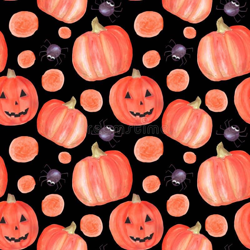 Het naadloze patroon van waterverfhalloween met pompoenen, spinnen, cirkels Patroon geschikt voor decoratie voor partij, uitnodig vector illustratie