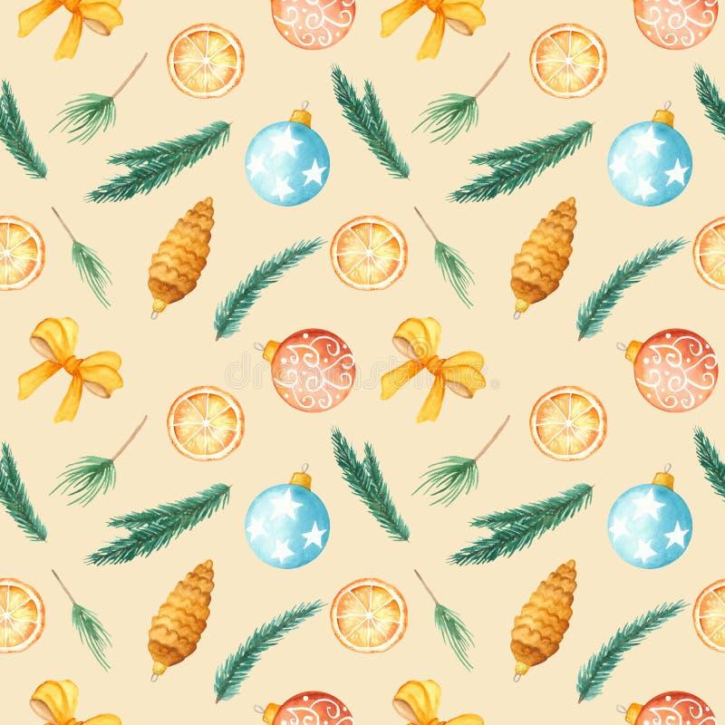 Het Naadloze Patroon van waterverfkerstmis De textuur met spar vertakt zich, Kerstmisspeelgoed, ballen, mandarijn, boog stock illustratie