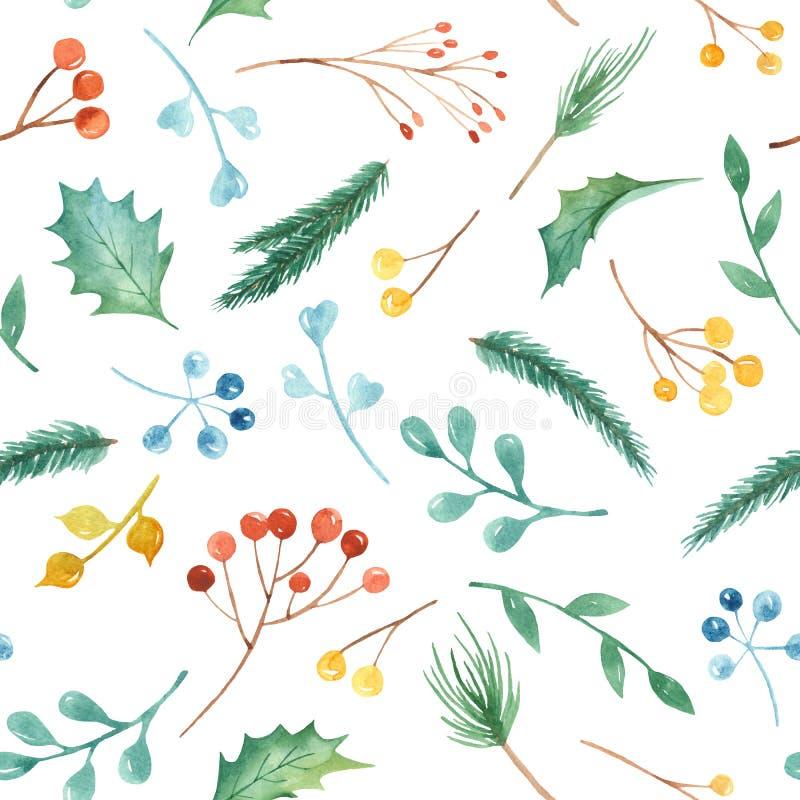 Het naadloze patroon van waterverfkerstmis met installaties Textuur met spartakken, hulst, bessen, pijnboom, bladeren stock illustratie