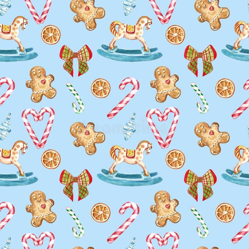 Het naadloze patroon van waterverfkerstmis met suikergoedriet, hobbelpaardornament, boomdecor, lint, peperkoekkoekjes op blauw stock illustratie