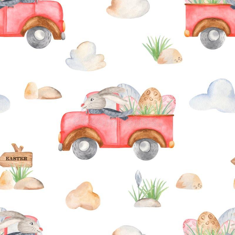Het naadloze patroon van waterverfpasen met vrachtwagen en konijn stock illustratie