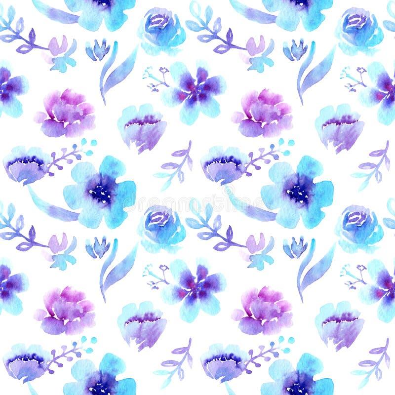 Het naadloze patroon van waterverfpatronen, violet-blauwe bloemen vector illustratie