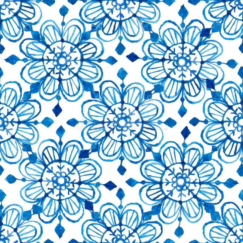 Het naadloze patroon van waterverfsneeuwvlokken royalty-vrije illustratie