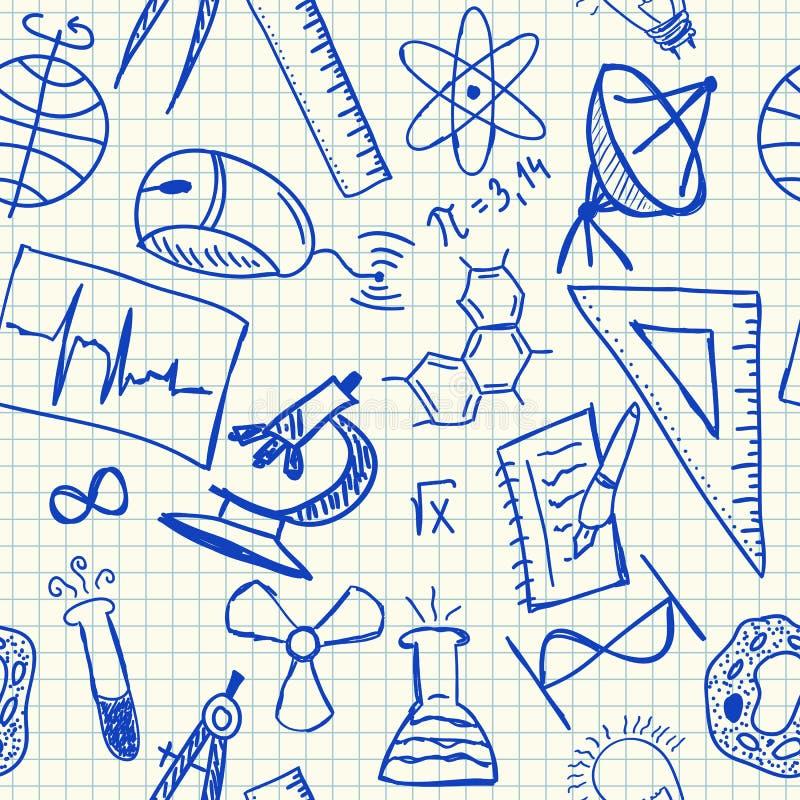 Het naadloze patroon van wetenschapskrabbels royalty-vrije illustratie