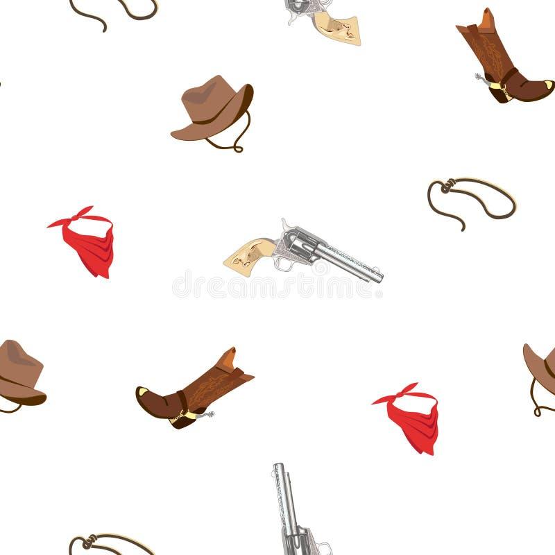 Het Naadloze Patroon van Wilde Westennen stock illustratie