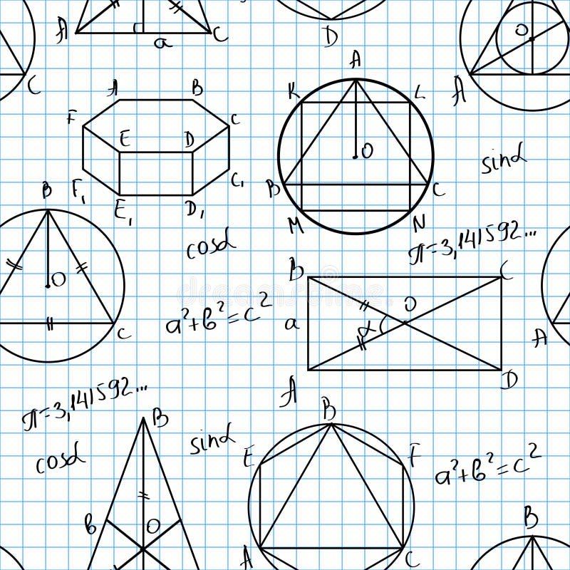 Het naadloze patroon van wiskunde vector illustratie
