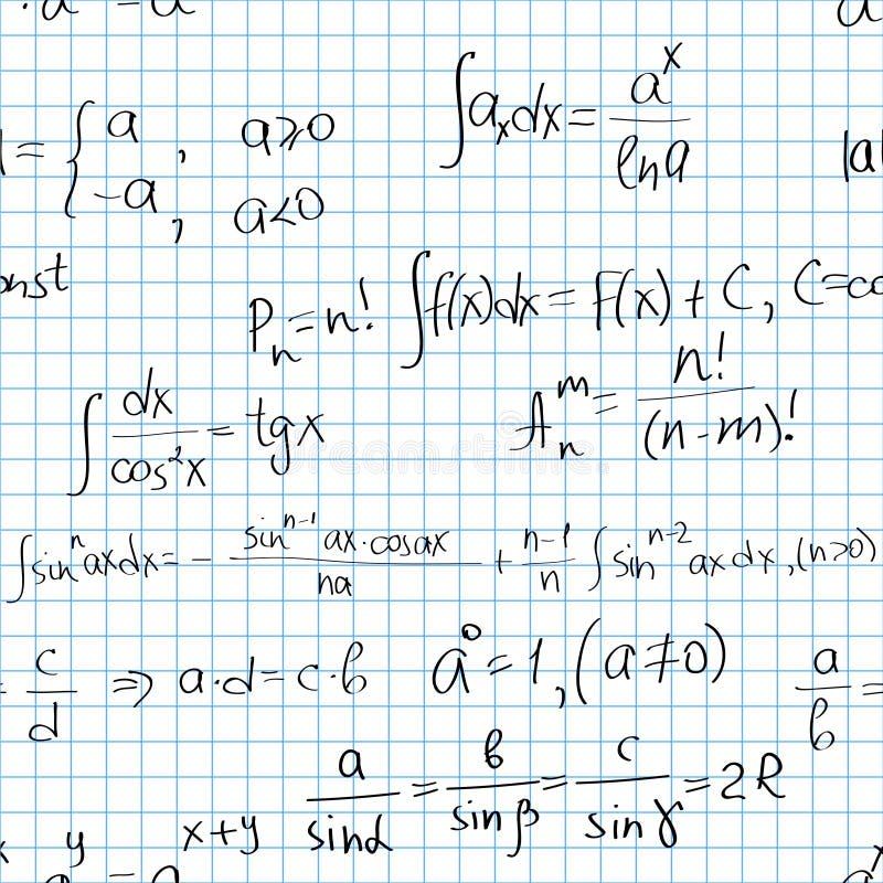 Het naadloze patroon van wiskunde royalty-vrije illustratie