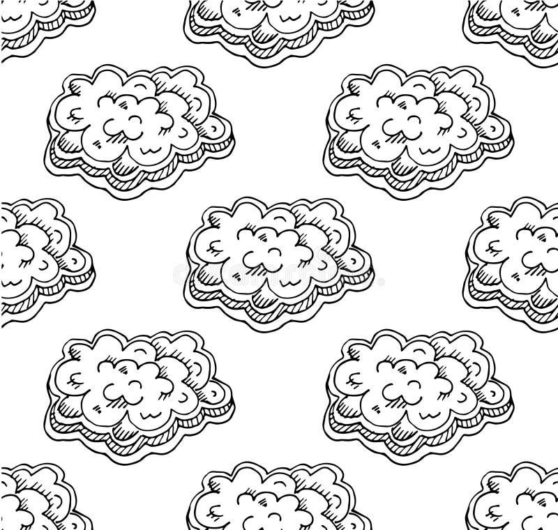 Het Naadloze Patroon van wolken royalty-vrije illustratie