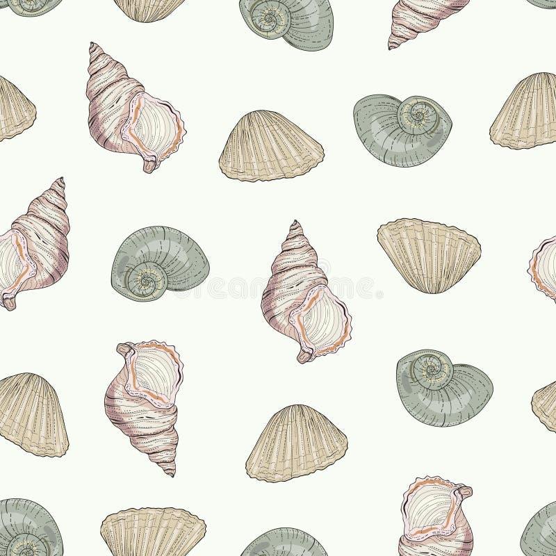 Het naadloze patroon van zeeschelpen vector illustratie