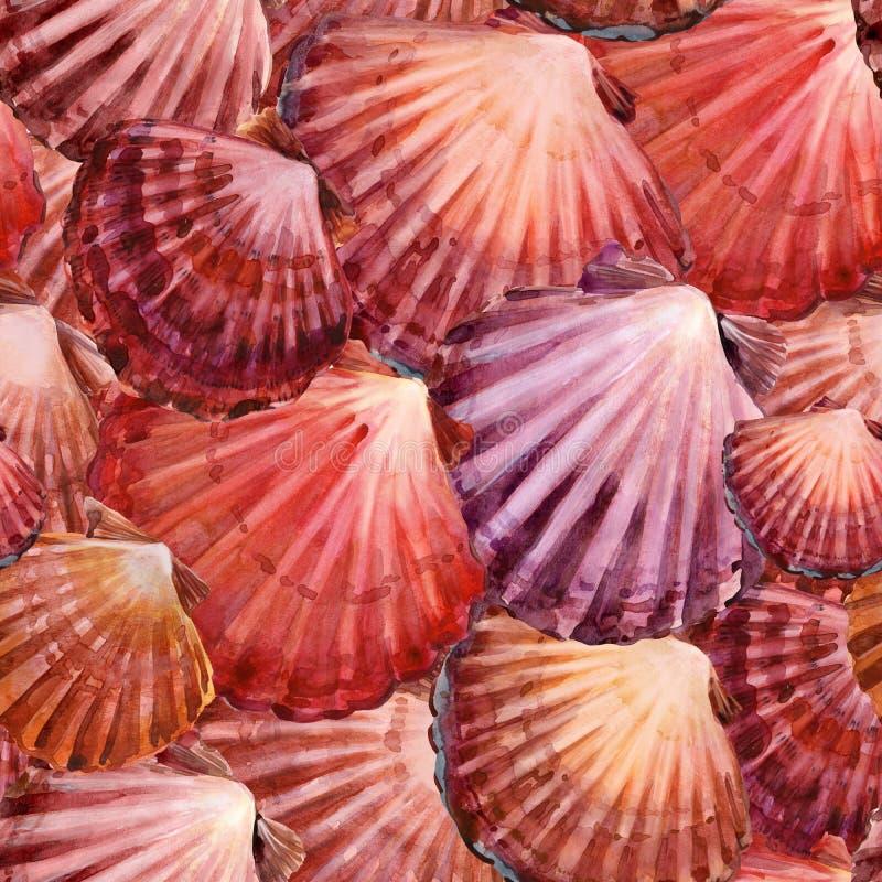 Het naadloze patroon van zeeschelpen mariene waterverfachtergrond Het overzeese onderwaterleven stock illustratie