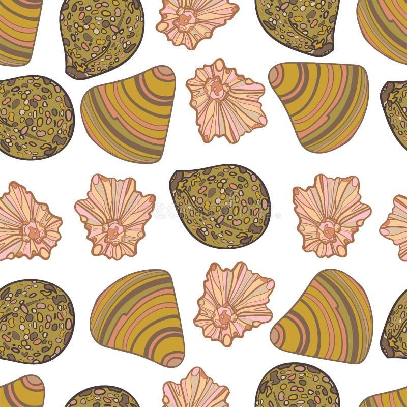 Het naadloze patroon van zeeschelpen Op een wit ge?soleerde achtergrond royalty-vrije illustratie
