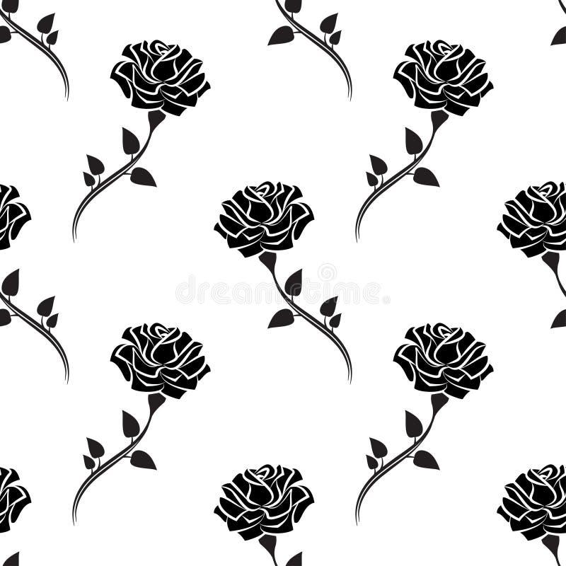 Het naadloze patroon van zwarte nam met bladeren toe stock illustratie