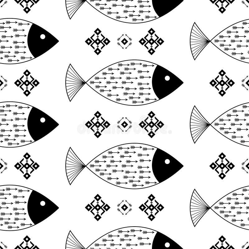 Het naadloze patroon vist met Indische Inheemse Amerikaanse pijlen en geometrische etnische ornamenten zwart-witte vectorachtergr vector illustratie