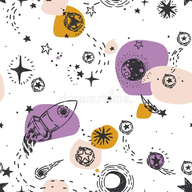 Het naadloze patroon voor reis aan ruimte met schets speelt, raket, kometen en planeten, en kleurrijke vlekken mee vector illustratie