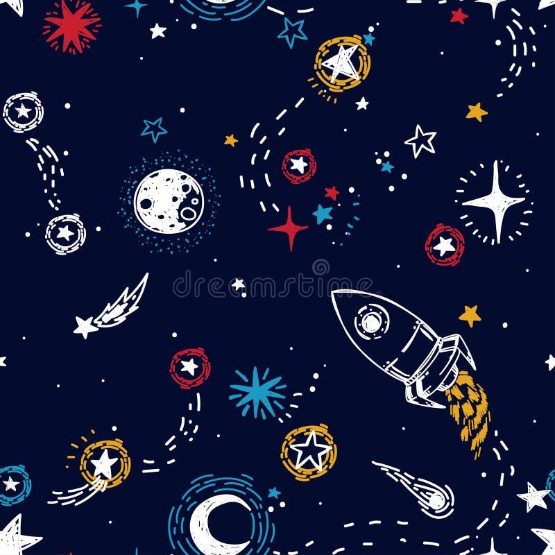 Het naadloze patroon voor reis aan ruimte met schets speelt, raket, kometen en planeten mee stock illustratie