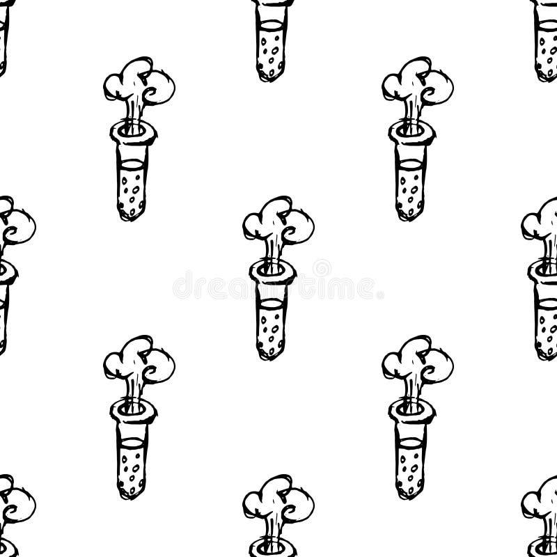 Het naadloze pictogram van de de reactiekrabbel van de patroon Handdrawn fles chemische Hand getrokken zwarte schets tekensymbool royalty-vrije illustratie