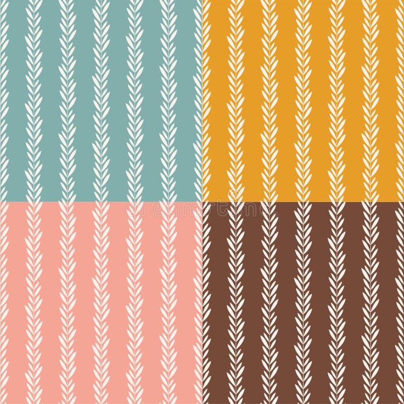 Het naadloze retro patroon van wijnstokkenbladeren De verticale achtergrond van het installatiebehang stock illustratie