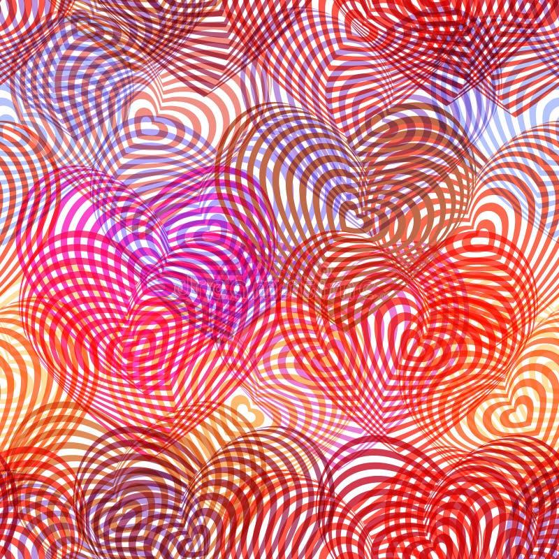 Het naadloze rode hart van patroon roze purpere Bourgondië op witte achtergrond Optische illusie van 3D driedimensioneel volume G stock illustratie