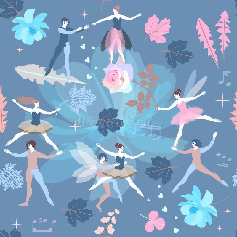 Het naadloze romantische patroon met feeën en elf, blauwe roze kosmosbloemen, nam en klokbloem toe Vector illustratie royalty-vrije illustratie