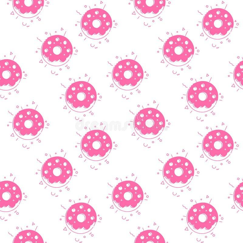 Het naadloze roze van de patroondoughnut royalty-vrije illustratie
