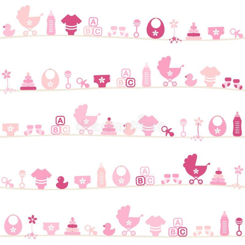 Het naadloze Roze van het de Pictogrammenmeisje van de Patroon Verschillende Baby stock illustratie
