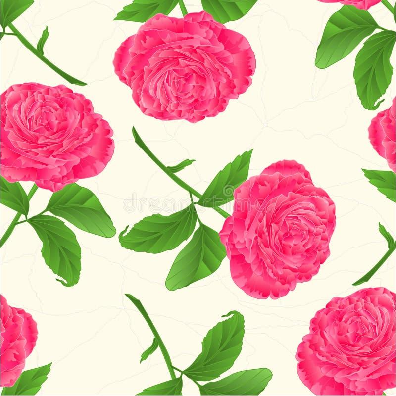 Het naadloze roze van de textuurbloem nam barsten in de porselein uitstekende vector toe stock illustratie