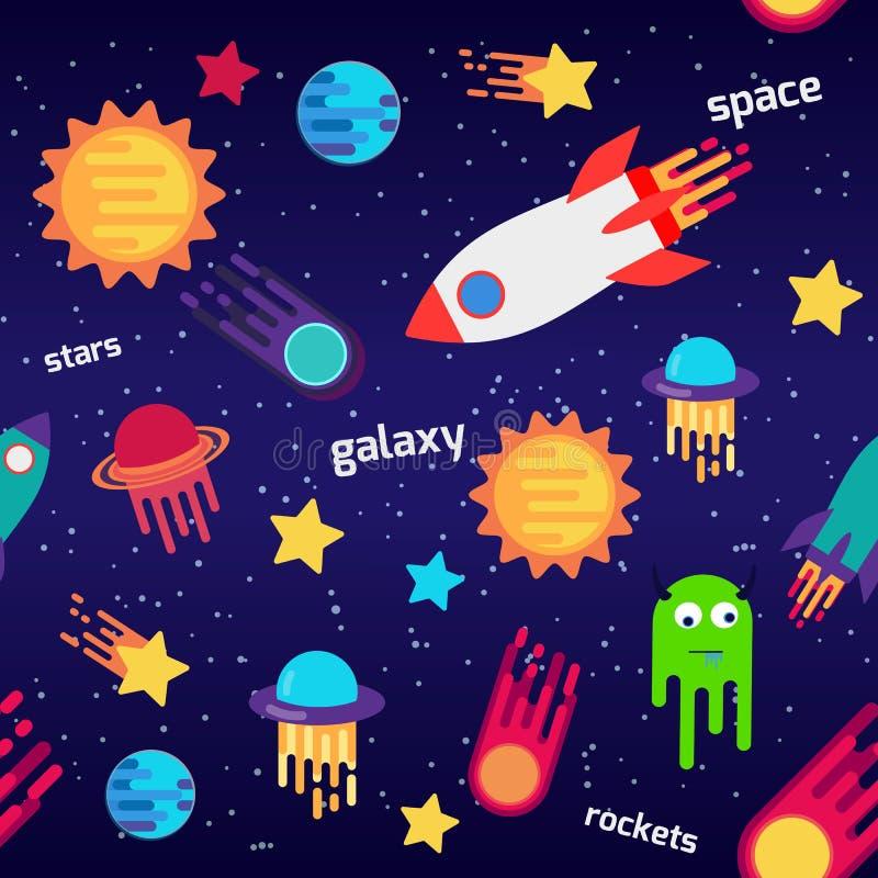 Het naadloze ruimtepatroon van het kinderenbeeldverhaal met raketten, planeten, sterren, de donkere achtergrond van de nachthemel vector illustratie