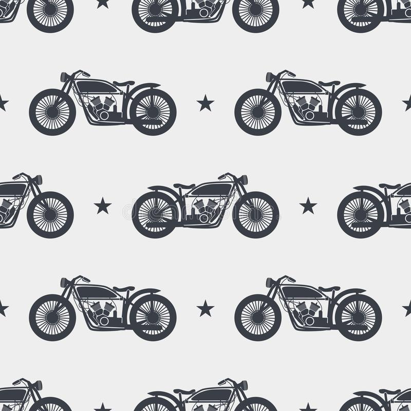 Het naadloze silhouet van de patroonmotorfiets royalty-vrije illustratie
