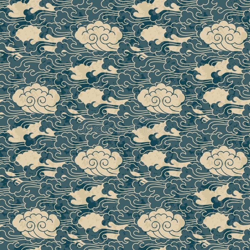 Het naadloze traditionele ontwerp van het wolken Chinese patroon stock illustratie