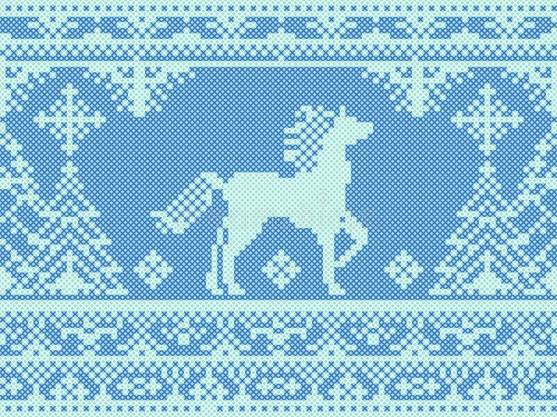 Het naadloze traditionele patroon van borduurwerk blauwe Kerstmis stock illustratie