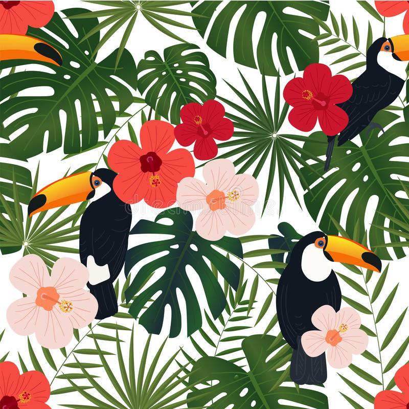Het naadloze tropische patroon, monstera en de palmbladen, heldere Chinees namen bloemen, toekanvogels op een witte achtergrond t vector illustratie