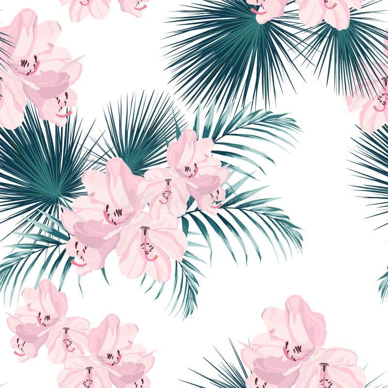 Het naadloze tropische vectorpatroon met paradijs roze rododendron bloeit en exotische palmbladen op witte achtergrond royalty-vrije illustratie