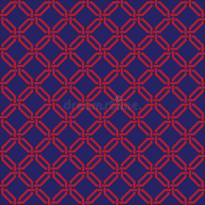 Het naadloze uitstekende behang van het het roosterlatwerk verweven damast van de kettingsverbinding vector illustratie