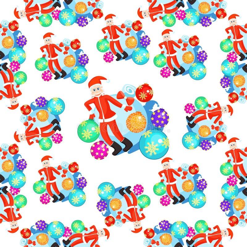 Het naadloze van patroonkerstmis de ballen en van Santa Claus glimlachen Vector stock illustratie