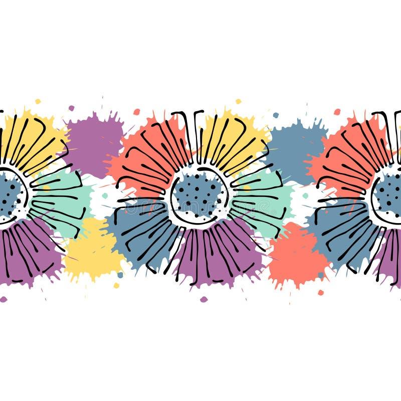 Het naadloze vectorhand getrokken bloemenpatroon, eindeloos grens Kleurrijk kader met bloemen, gaat weg Decoratieve leuke grafisc royalty-vrije illustratie