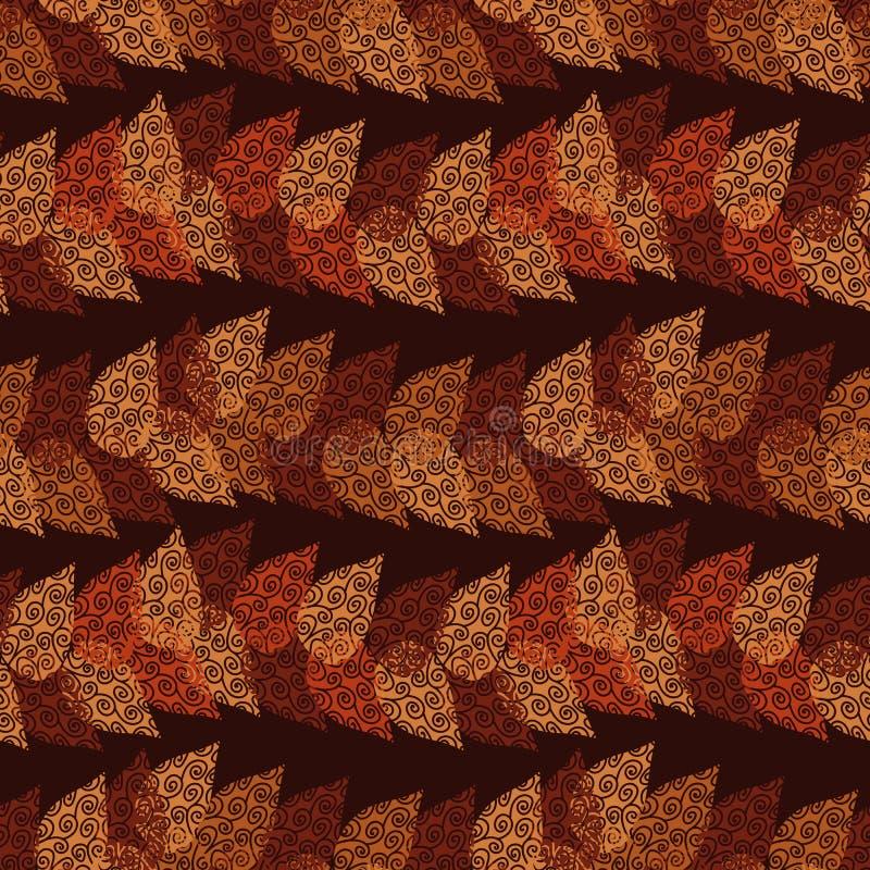 Het naadloze vectorpatroon met de oranje en rode herfst verlaat het vormen van horizontale strepen op donkere achtergrond vector illustratie