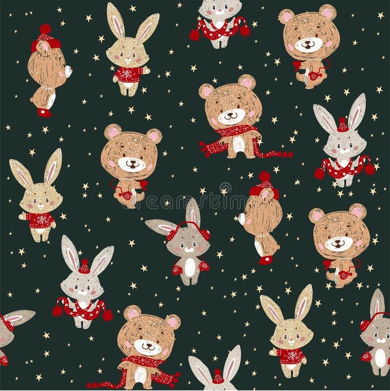 Het naadloze vectorpatroon met leuk konijntje en draagt in sjaal en hoed Kan voor behang worden gebruikt, vult het patroon, Web-p stock illustratie