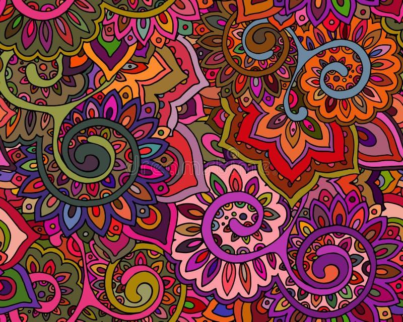Het naadloze vectorpatroon met traditionele oosterse bloemen ornamen vector illustratie