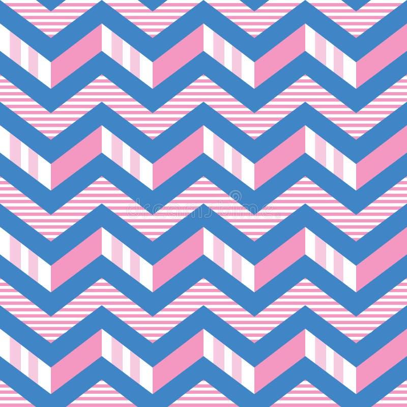Het naadloze vectorpatroon van chevronstrepen in roze, wit en blauw 3-d patroon van zigzagstrepen vector illustratie