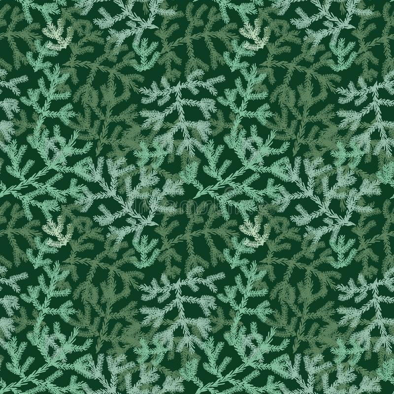 Het naadloze vectorpatroon van de Kerstmisvakantie met groene boomtakken royalty-vrije illustratie