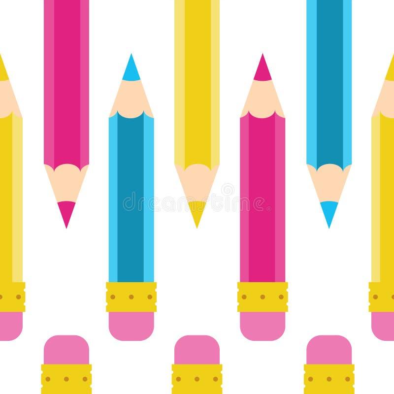 Het Naadloze vectorpatroon van de potloodkrabbel Beeldverhaal, geel, roze, blauw, cyaan stock foto's