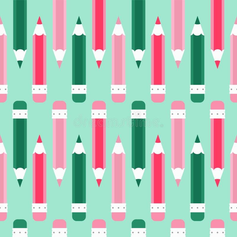 Het Naadloze vectorpatroon van de potloodkrabbel Beeldverhaal, groen, magenta, cyaan stock fotografie