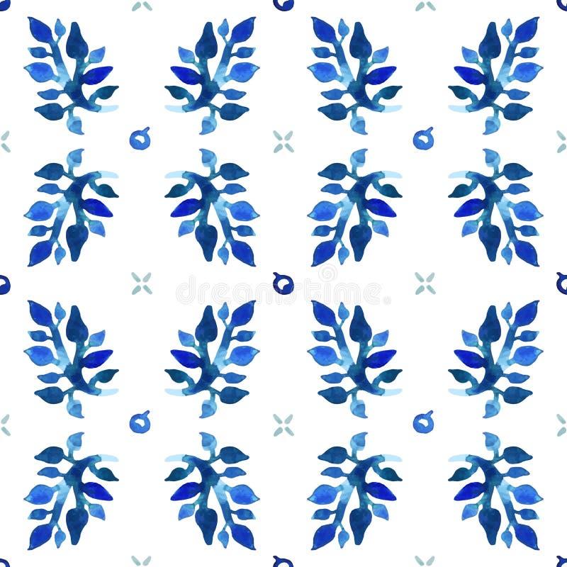 Het naadloze vectorpatroon van de waterverfaard (blauwe kleuren) Bladeren en bessenpatroon stock illustratie