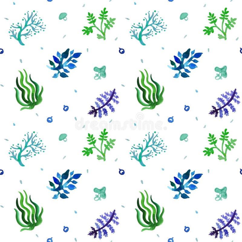 Het naadloze vectorpatroon van de waterverfaard (blauwe, lichtblauwe, groene kleuren) Gras en installatiespatroon stock illustratie