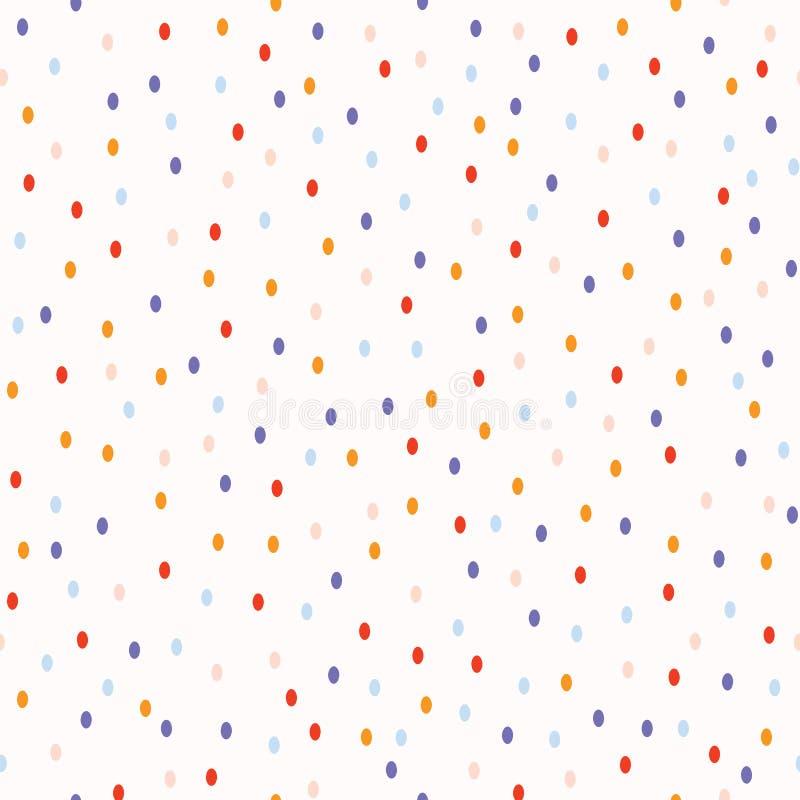 Het naadloze vectorpatroon van Ditsystippen De willekeurige uiterst kleine cirkels van pastelkleurconfettien voor de Uitnodiginge vector illustratie