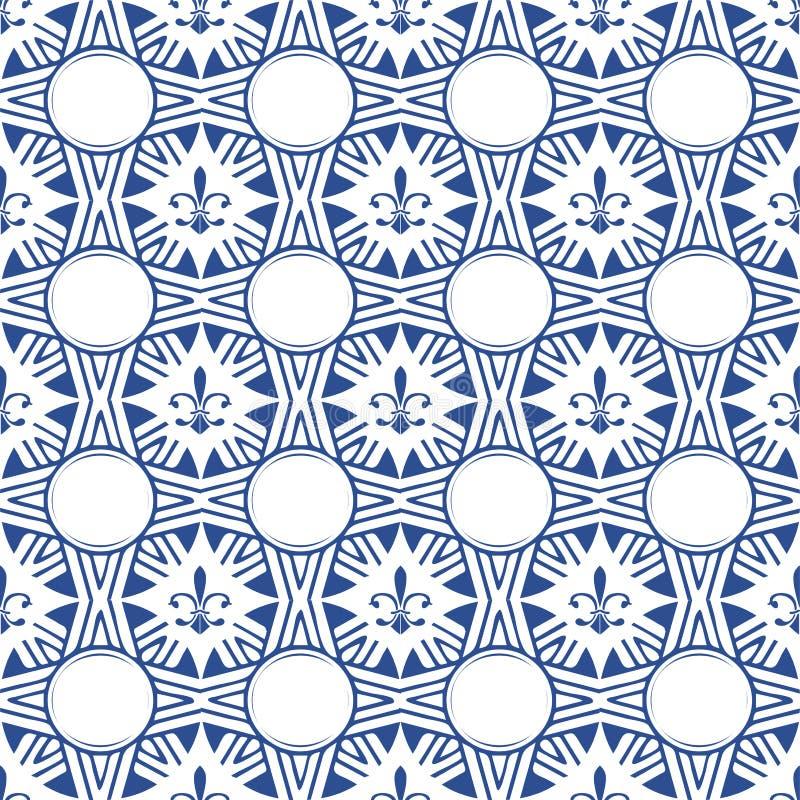 Het naadloze vectorpatroon van Fleurde lis De tegeldekking van Fleurde lis of de luxebehang van de damaststijl vector illustratie