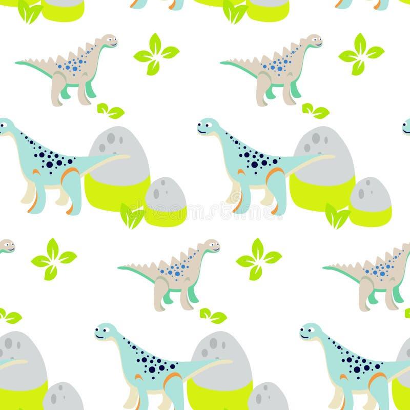 Het naadloze vectorpatroon van het dinosaurusjonge geitje voor textieldruk stock illustratie