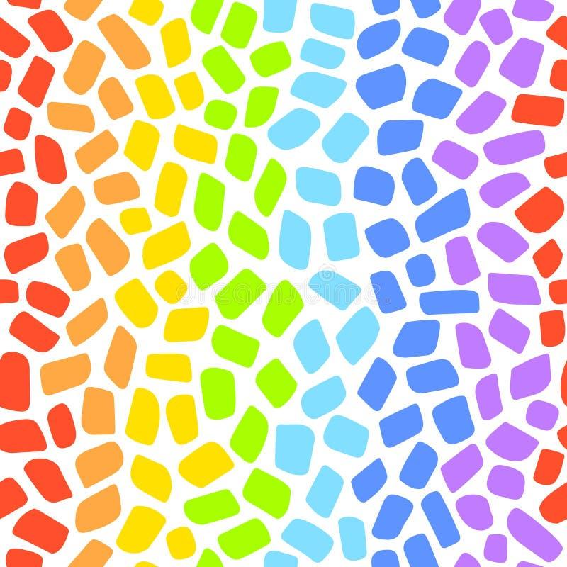 Het naadloze vectorpatroon van het regenboogmozaïek stock illustratie