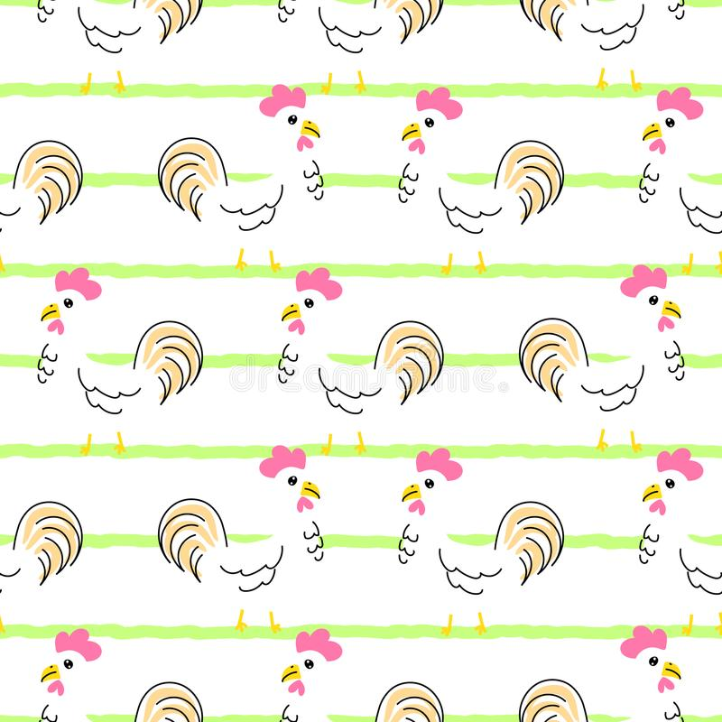 Het naadloze vectorpatroon van het kippenbeeldverhaal royalty-vrije illustratie